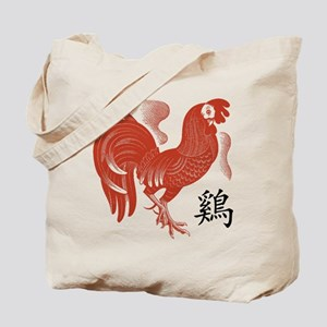 Chinese Zodiac Rooster Papercut Tote Bag