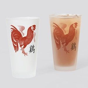 Chinese Zodiac Rooster Papercut Drinking Glass
