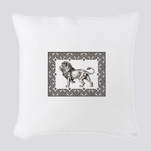 open king of beasts Woven Throw Pillow