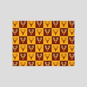 Vintage deer checkerboard 5'x7'Area Rug