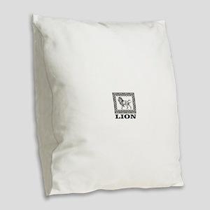 lion in a box Burlap Throw Pillow