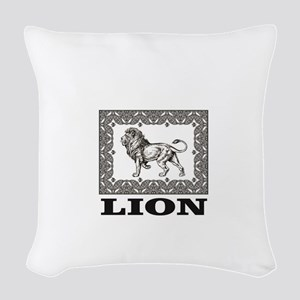 lion in a box Woven Throw Pillow