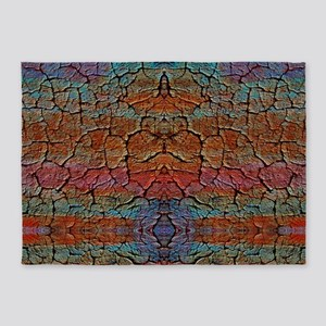 Colorful Cracked Clay 5'x7'Area Rug