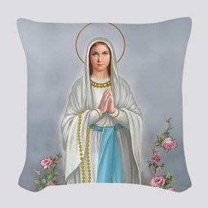 Blessed Virgin Mary Woven Throw Pillow
