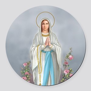 Blessed Virgin Mary Round Car Magnet