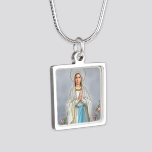 Blessed Virgin Mary Silver Square Necklace
