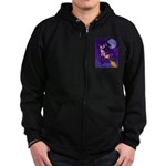 Witch And Pussy Cat Zip Hoodie (dark)