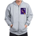Witch And Pussy Cat Zip Hoodie