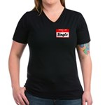 Hello I'm Single Women's V-Neck Dark T-Shirt