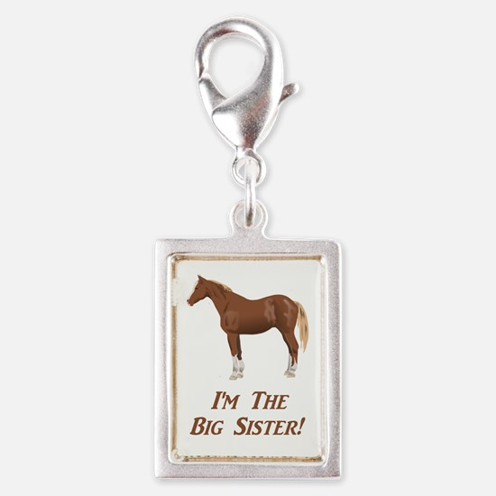 I'm the big sister horse des Silver Portrait Charm
