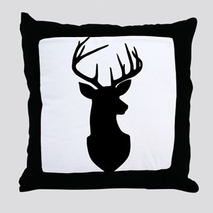 Buck Silhouette Deer with Antlers Throw Pillow
