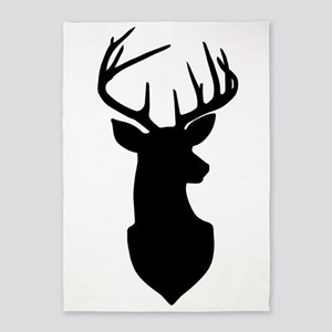 Buck Silhouette Deer with Antlers 5'x7'Area Rug