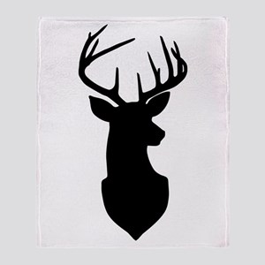 Buck Silhouette Deer with Antlers Throw Blanket
