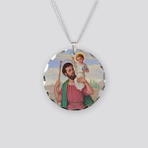 St. Christopher Necklace Circle Charm