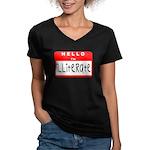 Hello I'm Illiterate Women's V-Neck Dark T-Shirt