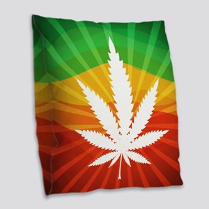 Marijuana Leaf Burlap Throw Pillow