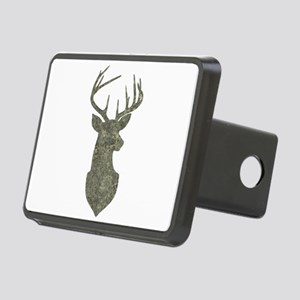 Buck Silhouette in Grunge Camo Texture Hitch Cover