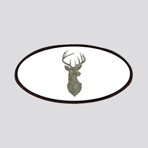 Buck Silhouette in Grunge Camo Texture Patch