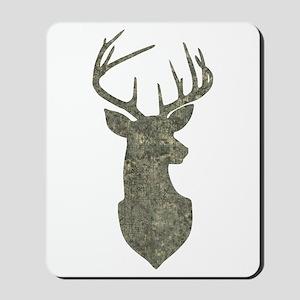 Buck Silhouette in Grunge Camo Texture Mousepad