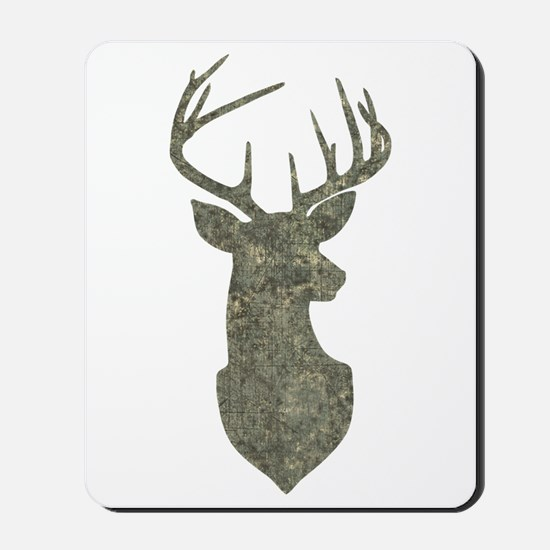 Buck Silhouette in Grunge Camo Texture Mousepad