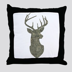Buck Silhouette in Grunge Camo Texture Throw Pillo