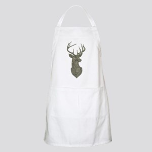 Buck Silhouette in Grunge Camo Texture Apron