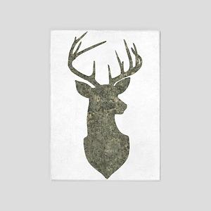 Buck Silhouette in Grunge Camo Texture 5'x7'Area R