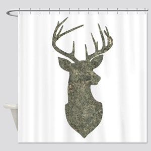 Buck Silhouette in Grunge Camo Texture Shower Curt