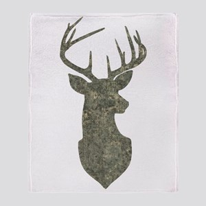 Buck Silhouette in Grunge Camo Texture Throw Blank