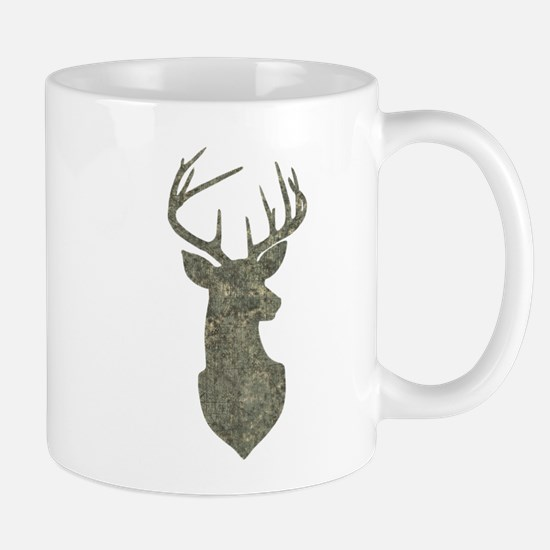Buck Silhouette in Grunge Camo Texture Mugs
