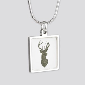 Buck Silhouette in Grunge Camo Texture Necklaces