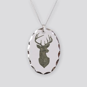 Buck Silhouette in Grunge Camo Texture Necklace