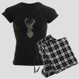 Buck Silhouette in Grunge Camo Texture Pajamas