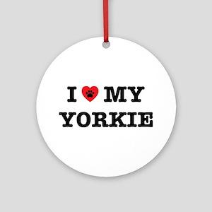 I Heart My Yorkie Round Ornament