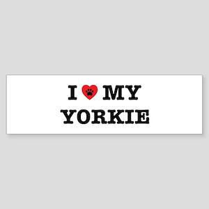 I Heart My Yorkie Bumper Sticker