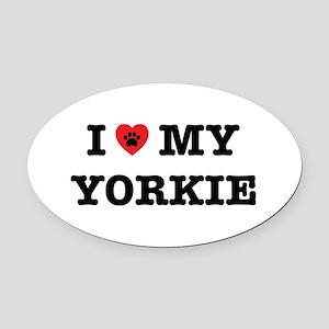 I Heart My Yorkie Oval Car Magnet