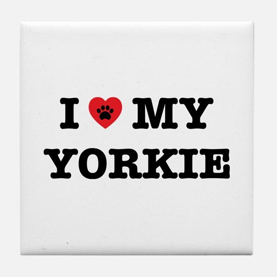 I Heart My Yorkie Tile Coaster