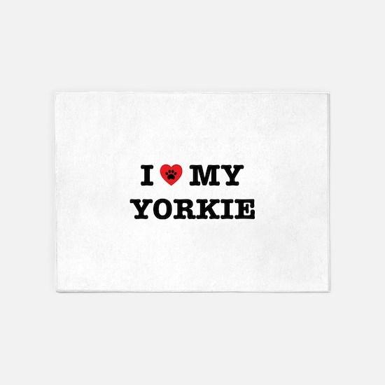 I Heart My Yorkie 5'x7'Area Rug