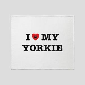 I Heart My Yorkie Throw Blanket