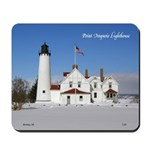 Point Iroquois Lighthouse Winter Mousepad