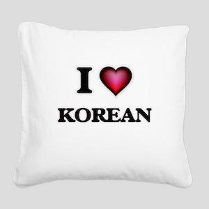 I Love Korean Square Canvas Pillow