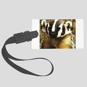 striped badger image Large Luggage Tag