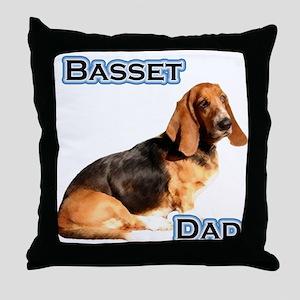 Basset Dad4 Throw Pillow