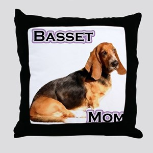Basset Mom4 Throw Pillow
