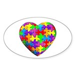 Jelly Puzzle Heart Oval Sticker