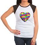 Jelly Puzzle Heart Women's Cap Sleeve T-Shirt