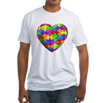 Jelly Puzzle Heart Fitted T-Shirt