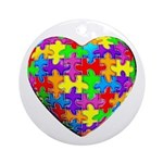 Jelly Puzzle Heart Ornament (Round)