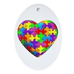 Jelly Puzzle Heart Oval Ornament
