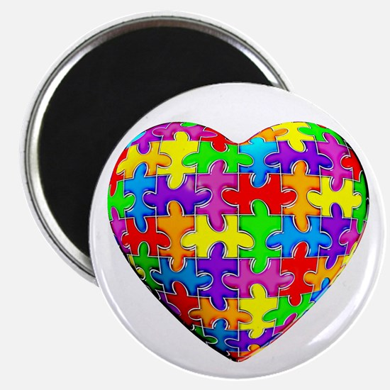 "Jelly Puzzle Heart 2.25"" Magnet (10 pack)"